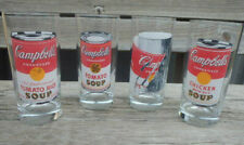 4 Vtg Andy Warhol High Ball Campbell Soup Drinking Glasses - 16 oz