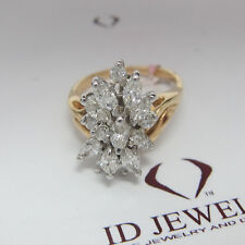 1.50CT Round and Marquise Estate Diamond Ring F SI  14K