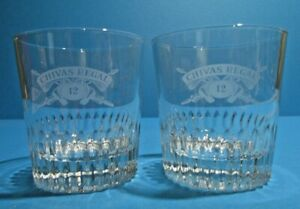 BEAUTIFUL CHIVAS REGAL SCOTCH WHISKY  GLASSES SCOTLAND - SET OF TWO MINT