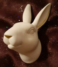 White Ceramic Bunny Head Wall Hanging Plaque Wall Art Easter