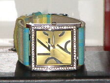 Pre-Owned Women's Silver & Multi Color Rhinestone Canvas Band Analog Watch