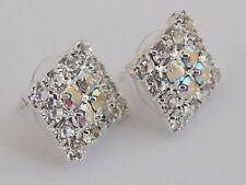 Silver Tone Glitzy Crystal White Royal Blue Black Kite Cluster Stud Earrings
