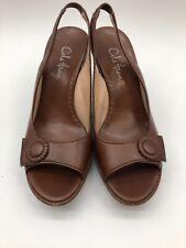 Cole Haan D21214 HO6 Brown Leather Wedges Sling back Sz 8.5B