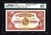 Tonga 4 Shillings SPECIMEN Proof Note 1941-66 P. 9 /9sp PMG 67 Superb Gem UNC