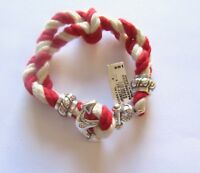 Brighton Coastal Bracelet-rope -red and white- nautical anchor twisted crystals