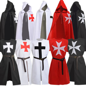 Medieval Warrior Knight Men's Costume Tunic Cloak Cape Cosplay Outfit