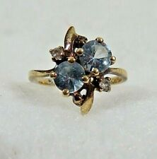 Vintage 10KT Gold with 2 Diamond  and Blue Stones Ring  2.6 grams Size 6.25