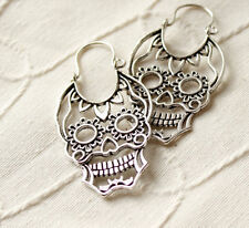 FINE QUALITY TRIBAL MANDALA SKULL EARRINGS SILVER OVERLAY BRASS HOOPS GAUGES