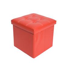 Mobili Rebecca Pouf Contenitore Rosso Puff Poggiapiedi Quadrato Ottomano Pieghe