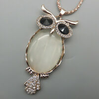 White Opal Crystal Cute Owl Pendant Betsey Johnson Sweater Necklace