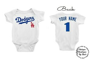 Los Angeles Dodgers Homemade baby bodysuit.