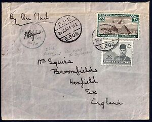 EGYPT UK 1940 WAR TIME FIELD POST OFFICE COVER E606 FRANKED AIRMAIL 20 MILS &