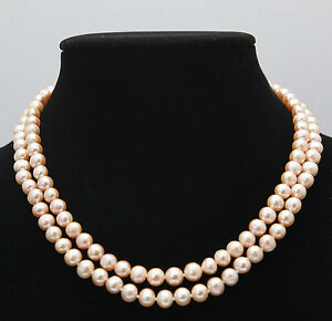 Fashion 2 Rows 8-9MM Natural Pink Akoya Cultured Pearl Necklace 17-18''