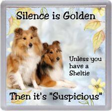 "Shetland Sheepdog / Sheltie Dog Coaster ""Silence is Golden  ..."" by Starprint"
