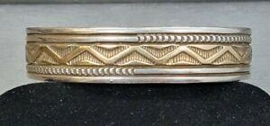 Bruce Morgan Sterling Silver & 14k Cuff Bracelet - 38 grams (T1814)