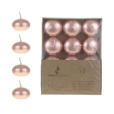 "Mega Candles - Unscented 1.5"" Floating Disc Candles - Rose Gold, Set of 36"