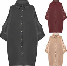 Machine Washable Button-Down Solid Tops & Blouses for Women