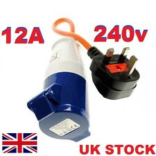 UK Plug to Caravan Hook Up Lead Adapter Extension Lead Socket 13a to 16A