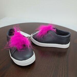 Cat & Jack Sneakers Toddler Girls 7 Black Faux Leather Faux Pom Poms Slip On