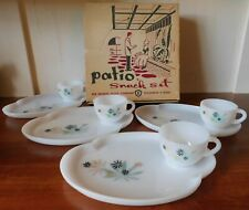 Federal Glass Patio Snack Set Service for 4 NOS