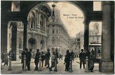 1912 Genova - Portici di Piazza de Ferrari, targhetta colonie FP B/N VG ANIM