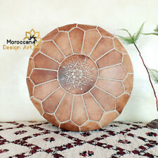 Leather pouf,ottoman,Moroccan,Handmade,Genuine,Authentic,Natural color,footstool