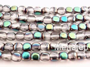 50  4 x 4 mm Czech Glass Cube Beads: Crystal - Green Vitral