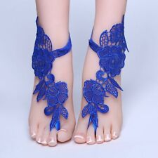 Wedding Lace Flower Bridal Anklet Barefoot Sandal Jewelry Beach Foot Chain Blue