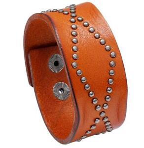Punk Mens Wide Handmade Leather Bracelet Adjustable Bangle Wristband Cuff Wrap