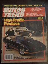 Motor Trend Magazine July 1982 Pontiac Trans AM Convertible De Lorean No Label K