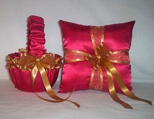 RED SATIN / GOLD TRIM FLOWER GIRL BASKET & RING BEARER PILLOW  #1