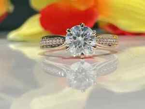14K WHITE GOLD OVER 1.46 CT MOISSANITE ANNIVERSARY SOLITAIRE WITH ACCENTS RING
