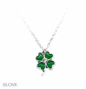 Collana Donna QUADRIFOGLIO Verde con cristallo catena Argento cuore Portafortuna