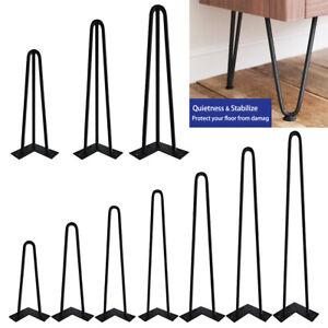 "8"" - 30"" 2/3-Rod Coffee Table Metal Hairpin Legs Solid Iron Bar Black Set of 4"