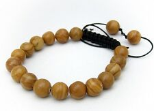 Men's Shamballa bracelet all 10mm NATURAL ROUND GRAIN stone beads