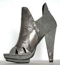 $98 NEW Victoria's Secret Platform Snake Suede Leather Gray Boot Shoes Heels 7