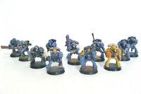 Space Marine Warhammer 40K miniature figures 11 fairly well painted bundle lot