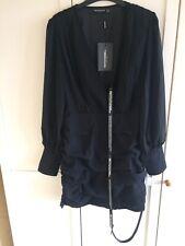 Pretty Little Thing Black Long Sleeve Chiffon Ruched Bodycon Dress Size 12