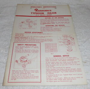 Original vintage operating instructions for Ransomes Typhoon Major c 1950