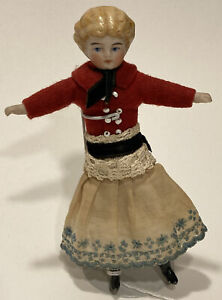 """Antique German Bisque Doll Articulated Molded Hair Painted Features, 4-7/8"""" tall"""