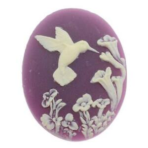 Vintage Style Lucite Oval Cameo Purple W/ Cream Hummingbird And Flowers 40x30mm