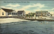 Old Lyme CT White Sands Beach & Cottages Linen Postcard