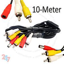 Cctv 10 metros de potencia de audio video AV RCA DVR Sistema Cámara Cable S247