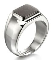 Fred Bennett Brushed & Polished Stainless Steel Mens Urban Gun Metal Signet Ring