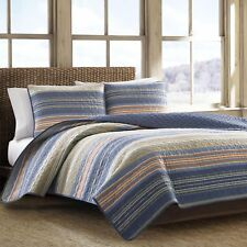Eddie Bauer Blue Vintage Reversible Cotton 3-PC Quilt,Coverlet Set/ Queen/Full