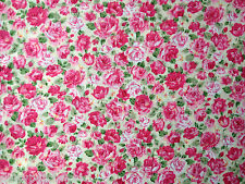 Rosa Pink Roses Fat Quarter Cream Cotton Fabric Shabby Vintage Small Floral FQ
