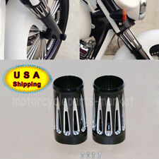 Black Deep Edge Cut Fork Boot Slider Cover Cow Bell For Harley Touring FL 86-13