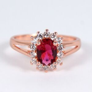 Women's Rose Gold plated Red Crystal Ring