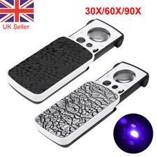 Pocket Magnifying 30/60/90X Jewellers Magnifier Glass LED Slide Light Loupe UK