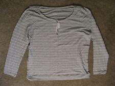 MERONA 100% Cotton Tee Shirt Sleep Wear Long Sleeve Sleeping Pajamas-Lt Grey-XXL